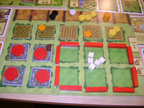 A player board at the end of a game of Agricola